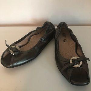 Anyi Lu - Metallic Peep-toe Flats